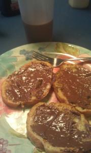 Kevin makes the best French toast & mom puts Nutella on it...YUM!